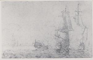 Zeeslag tussen een fregat en een koopvaarder