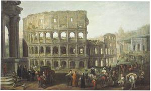 Een menigte van ruiters, voorname wandelaars en volkstypes voor het Colosseum te Rome