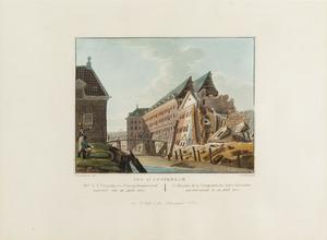 Gezicht op de ingestortte Magazijn en Scheepstimmerwerf te Amsterdam
