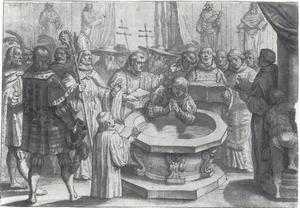 Doopscène, doop van een volwassen koning