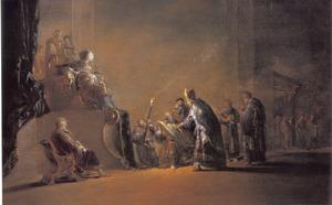De schrijver Safan leest koning Josia het door de opperpriester Chilkia teruggevonden wetboek voor (2 Koningen 8-10)