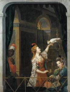 Twee jonge vrouwen met kaketoe en papegaai in een venster