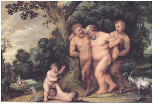 De dronken Silenus ondersteund door saters