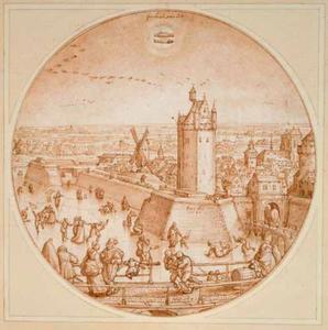 De maand februari; geïnspireerd op Antwerpen met de Roode Poort en de toren van de St. Jacobskerk