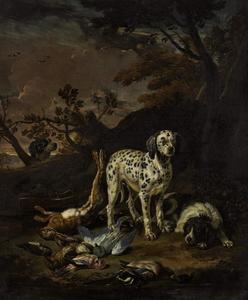 Drie honden bij een jachtbuit van haas en gevogelte in een landschap