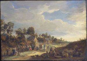 Dorpsstraat met dansende boeren, reizigers en wandelaars