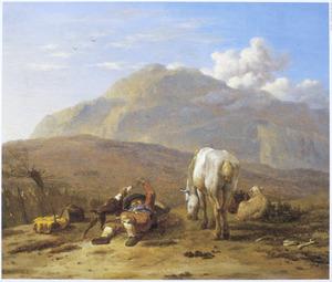 Zuidelijk landschap met herdersjongen en hond