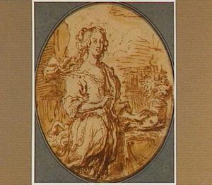 Portret van een vrouw met een masker in de linkerhand