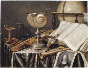 Vanitasstilleven met nautilusbeker en gravure met een portret van een man, waarschijnlijk een portret van Edwaert Collier (1640-1708)
