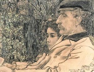 Dubbelportret van Johan Drabbe (1839-1916) en zijn dochter Mies (1875-1956)