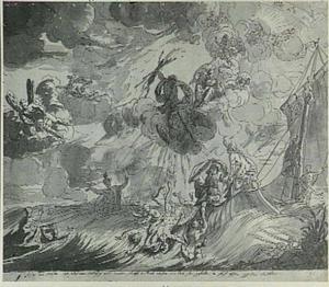 Jupiter treft het schip van Odysseus met een bliksemschicht; op de achtergrond Apollo met de zonnewagen