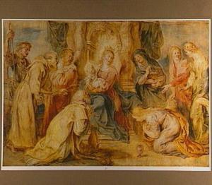 De Madonna met het kind door diverse heiligen vereerd