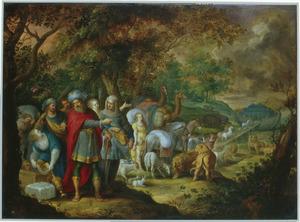 Noach en ziijn familie schepen zich in met de dieren (Genesis 7:4-5)
