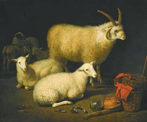 Stalinterieur met ram, schapen, geit en aardewerk