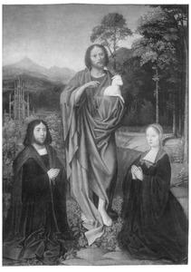 Johannes de Doper met twee stichters