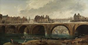 Sloop van de huizen op de Notre Dame brug in Parijs