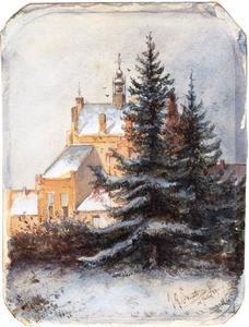 Gezicht op een kasteel in de winter