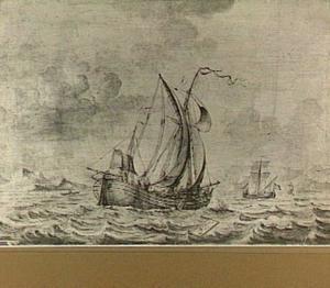 Een kofschip en een hoeker onder zeil; mogelijk in Davis Strait voor de kust van Groenland