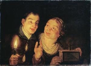 Jongen met een kaars en meisje met een muizenval