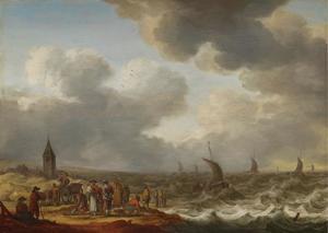 Kustgezicht met vishandelaren op het strand en schepen op woelige zee