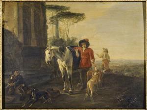 Jagers met paard en honden