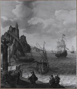 Koopvaardijschepen voor een exotische kust