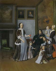 Portret van Isaac Elsevier (1627-1684), Anna van der Mast (....-1679), hun vier kinderen en een kindermeisje
