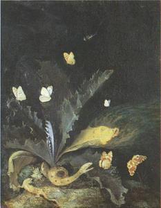 Distel met hagedis, slang en vlinders