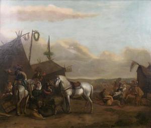 Soldaten bij een marketentsterstent in een legerkamp