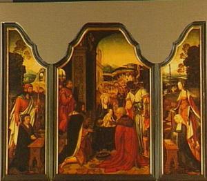 De aanbidding van de Wijzen, geflankeerd door het stichterspaar en hun patroonheiligen