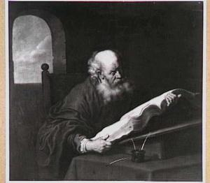 De evangelist Mattheus lezend met de engel