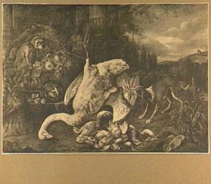Stilleven van gevogelte, siervaatwerk en vruchten in een landschap, links een aapje en rechts een hond