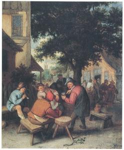 Rokende en drinkende boeren voor een dorpsherberg