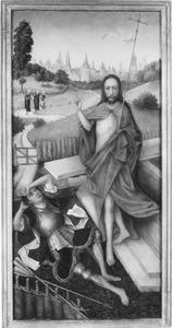 De opstanding van Christus met op de achtergrond de drie Maria's op weg naar het graf