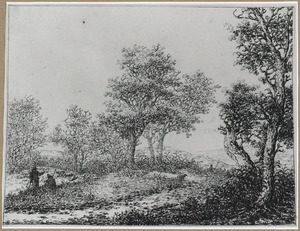 Boomrijk heuvellandschap met twee herders