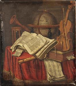 Vanitasstilleven met een globe, muziekinstrumenten, zandloper en boeken