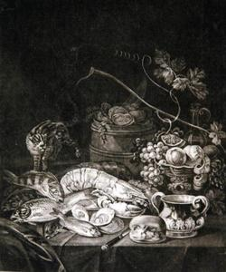 Stilleven met vruchten, schaaldieren en vis