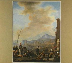 Zuidelijke zeehaven met veel figuren; op de achtergrond een vuurtoren en een brug