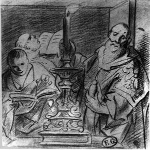 Hogepriester met kandelaar en twee schriftgeleerden