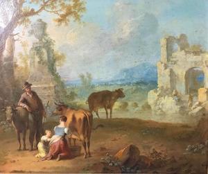 Landschap met herders bij een ruïne