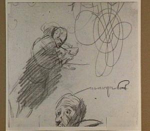 Een rokende man, een kop van een man en calligrafie