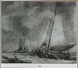 Turfschip en jaagschuit op woelig water