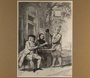Elegante man en vrouw zittend voor de herberg 'Het dorstige hert'