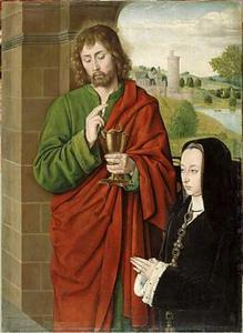Anne de France, dame van Beaujeu, hertogin van Bourbon, gepresenteerd door Johannes de Evangelist