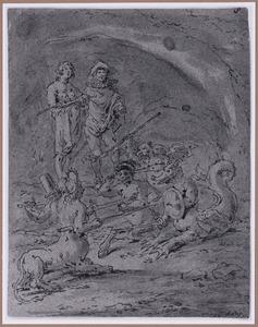 Wereld, Vlees en Duivel strijden met de Geldduivel (Suenos 1641, boek II, vierde droom)
