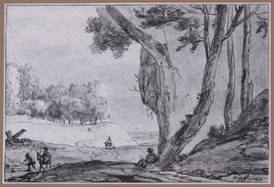 Landschap met tekenaar