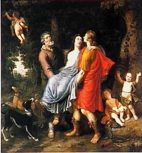 Silvio en Linco dragen de gewonde Dorinda