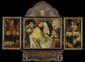 De H. Johannes de Evangelist met Willem Gertz en zijn zonen (links), de bewening (midden), Maria met kind met Styntgen Dirck Claessens en haar dochters (rechts)