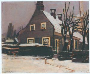 Huis met molen in sneeuwlandschap, omgeving Amsterdam