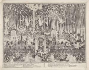 Vuurwerk in Moskou ter ere van tsaar Peter de Grote op 12 februari 1697